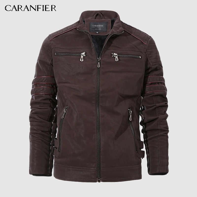CARANFIER แฟชั่นฤดูหนาวเสื้อแจ็คเก็ตหนังผู้ชายรถจักรยานยนต์ล้าง Retro Velour หนังยุโรปขนาดเสื้อบุรุษ