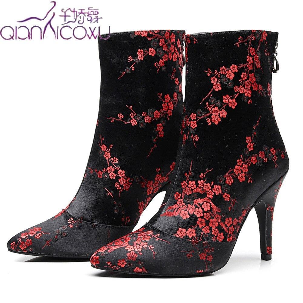 Luxury 2019 Salsa Jazz Ballroom Latin Dance Shoes For Dancing Women Training Modern Stylish High Heel Red Flower Boots
