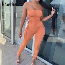 Hawthaw – combinaison sans bretelles pour femme, Streetwear, moulante, couleur unie, collection automne été 2020