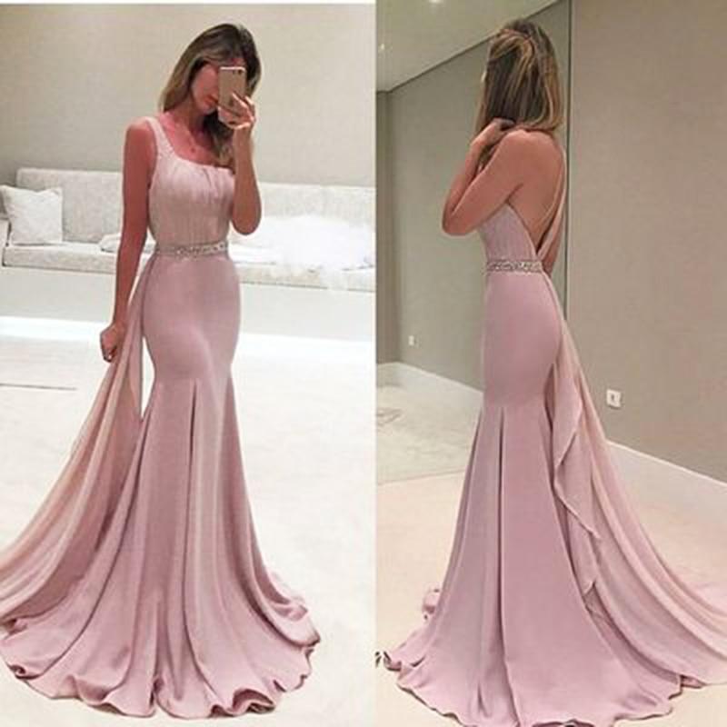 Luxury Pink Mermaid Evening Dresses Sleeves Pearls Belt Dubai Saudi Arabic Formal Evening Gown Prom Dress Robe De Soiree