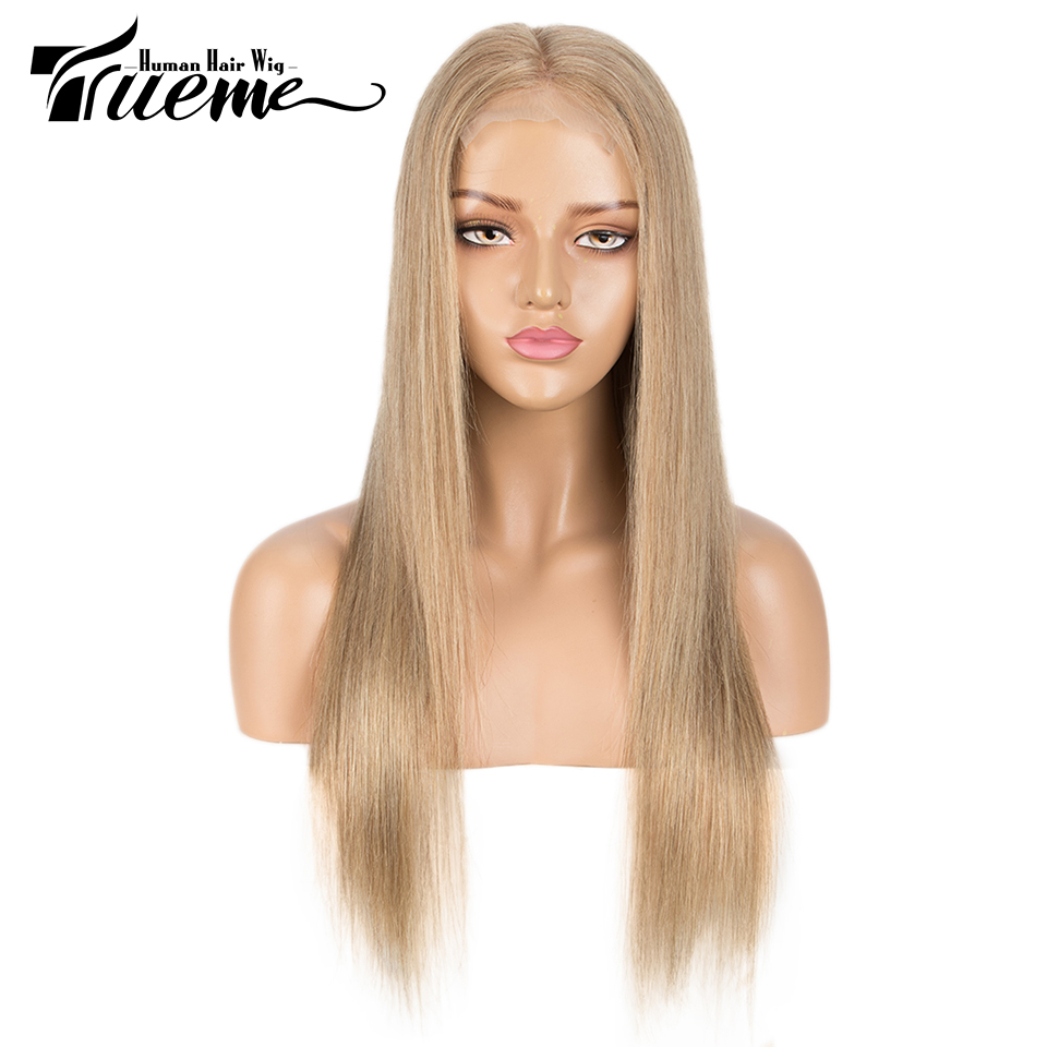 Trueme Golden Blonde 4x4 Lace Closure Wig Pre Plucked With Baby Hair For Women Brazilian Straight Lace Front Human Hair Wigs
