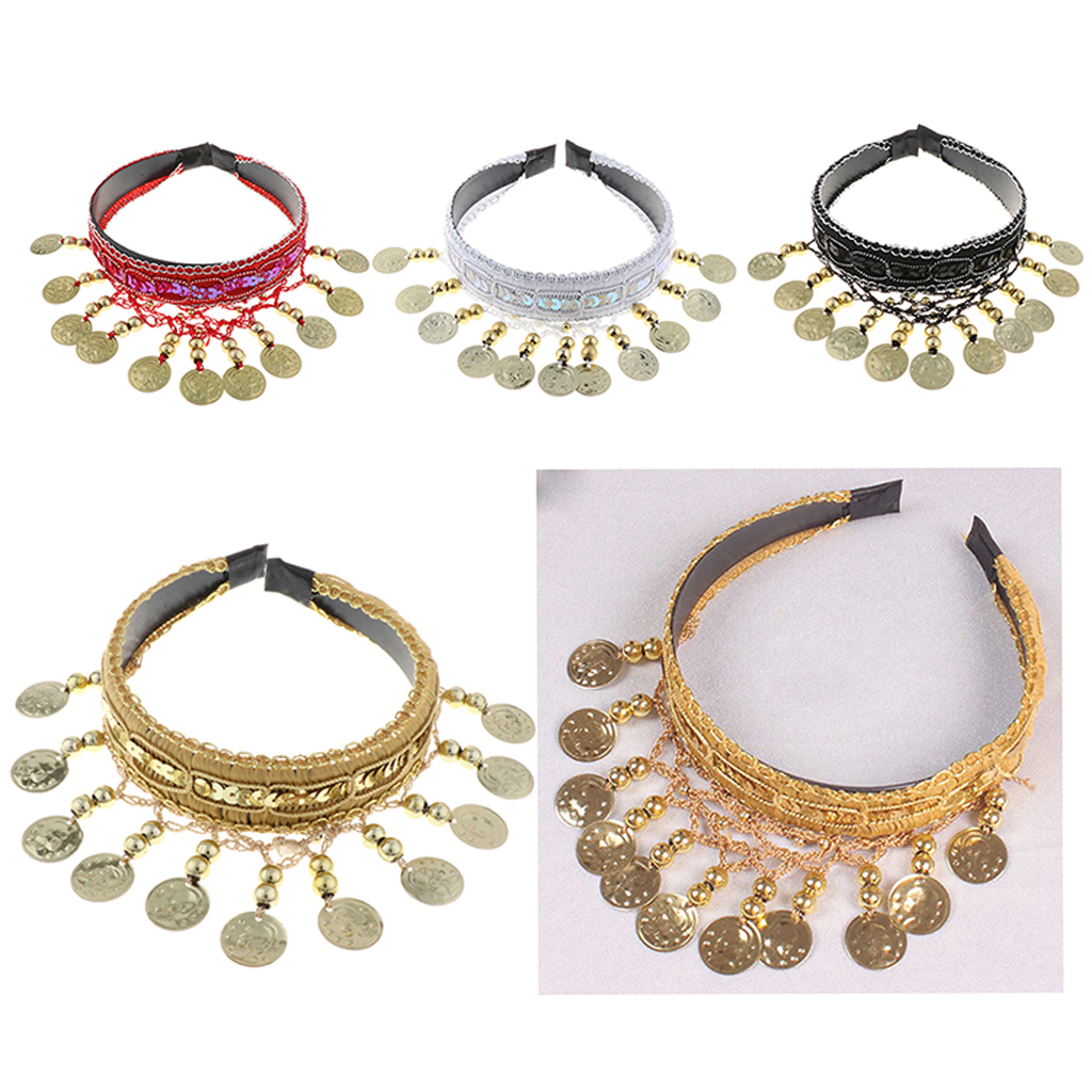 Belly Dance Headwear Hair Head Decorated With Coins Chains Hair Bands Hair Jewelry Dancer Costume Accessories