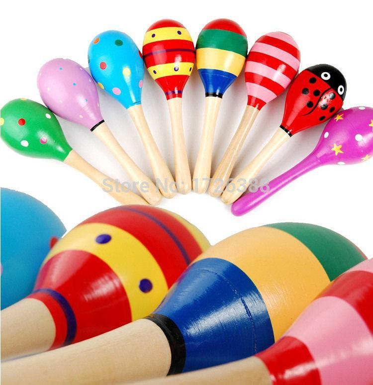 Hot Wooden Maraca Rattles Kid Musical Party Educational Child Baby Shaker Toy