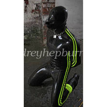 Fetish Latex Rubber Gummi Catsuit Men Bodysuit With Mask Party Ganzanzug Size(China)