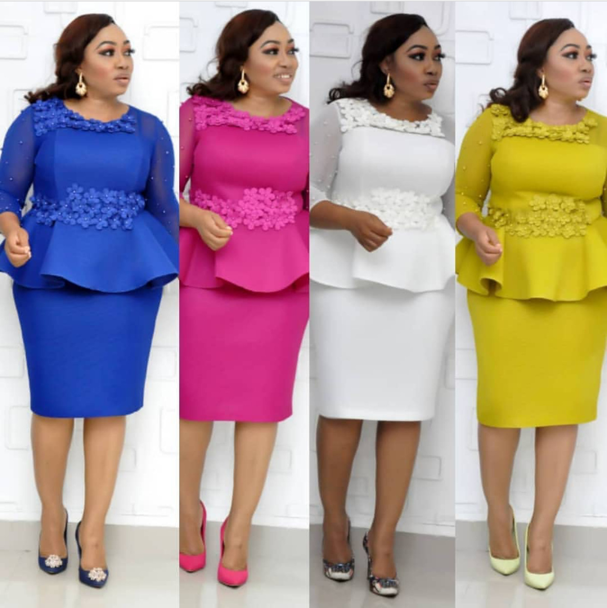 2019 new fashion style autumn african women beauty plus size knee-length dress L-3XL