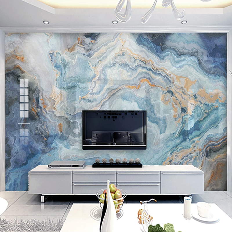 Custom Photo Abstract Blue Marble Pattern Living Room Sofa TV Background Wall Decor Painting Kitchen Mural Wallpaper Waterproof