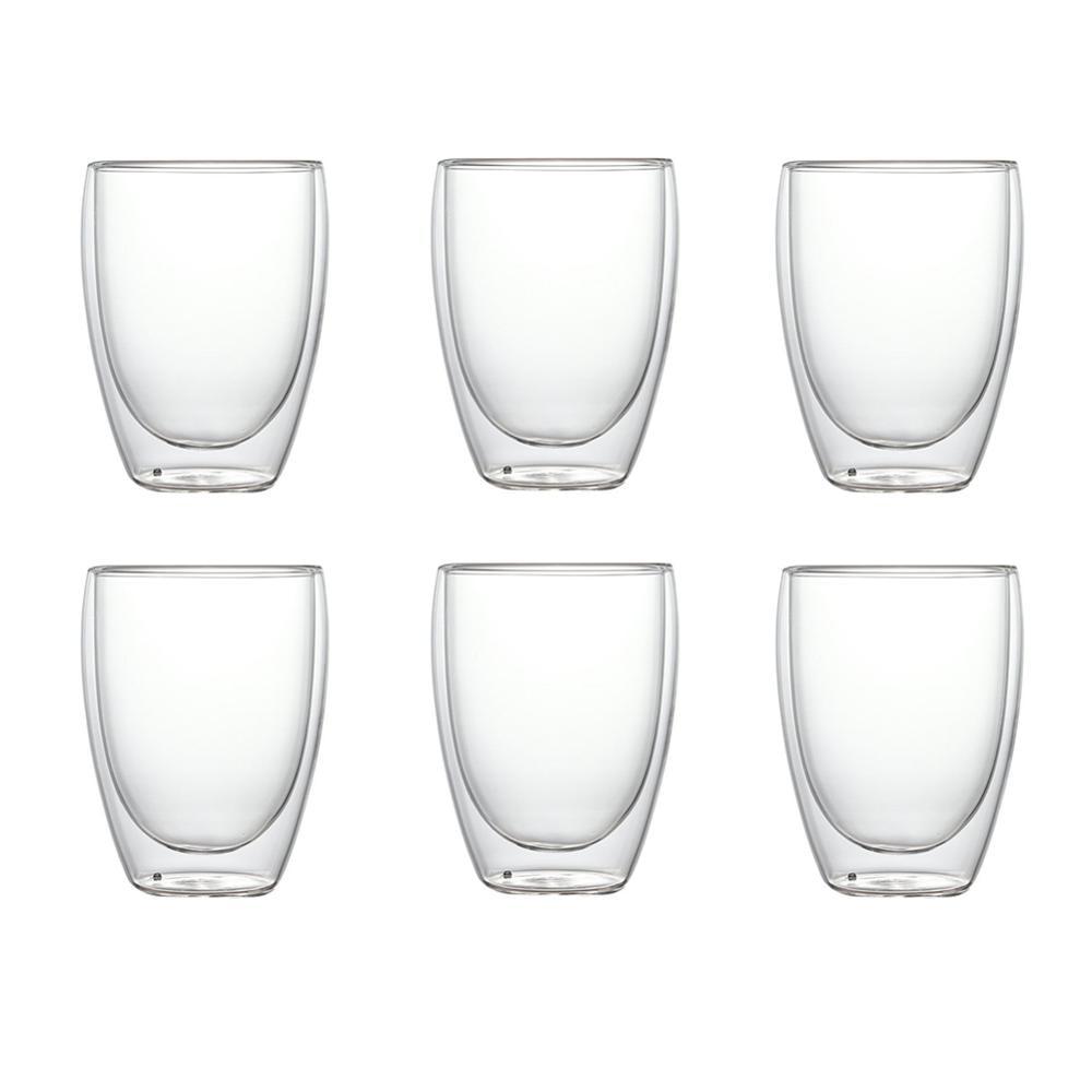 Купить 4 шт/6 шт 80 мл с двойными стенками стекло ясно ручной работы