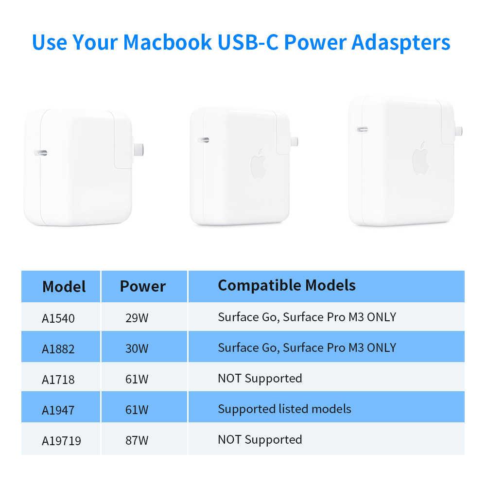 Rocketek USB tipo C de 15V adaptador/cargador de energía convertidor de Cable de carga para Microsoft Surface Pro/7/6/5/4/3/IR/libro portátil 1/2