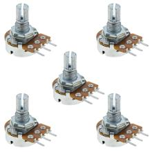 5Pcs 20mm Handle Single Turn Potentiometer Rotary Resistor 20K Ohm Linear Adjustment Single Linear Rotary Potentiometer ceramic wirewound rls50r50 euro 50r1 733a variable resistor potentiometer
