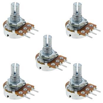 5Pcs 20mm Handle Single Turn Potentiometer Rotary Resistor 20K Ohm Linear Adjustment Single Linear Rotary Potentiometer israel pe30 4 7k potentiometer