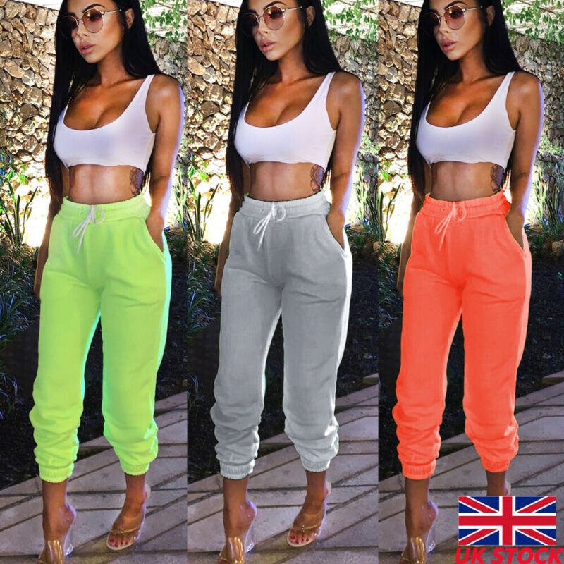 New Ladies Womens Slim Fit High Waist Sport Running Gym Stretch Sports Pants Tracksuit Bottoms Skinny Joggers Pants Trousers