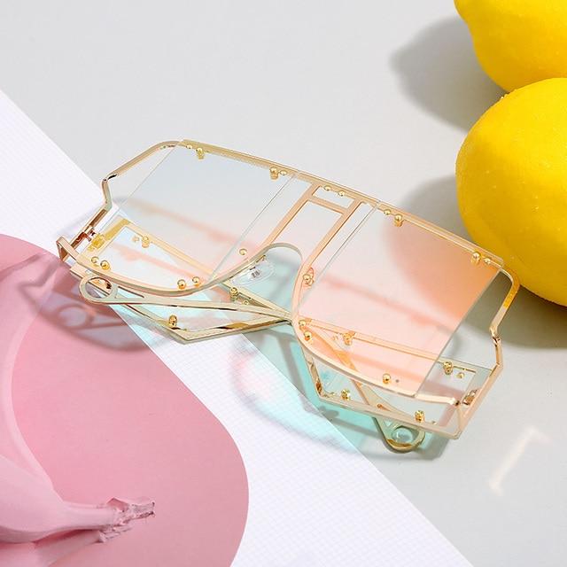 Fashion Square Sunglasses Women New Oversized Mirror Men Shades Glasses Luxury Brand Metal Rivet Trend Unique Female Eyewear 5