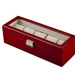 Ретро Красный Деревянный чехол для часов для хранения ювелирных изделий, прочный упаковочный держатель, органайзер для часов, шкатулка