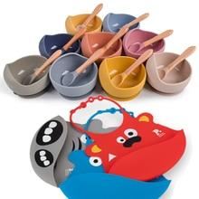 1set Silicone Baby Feeding Bowl Tableware Waterproof Spoon Non-Slip Crockery BPA Free