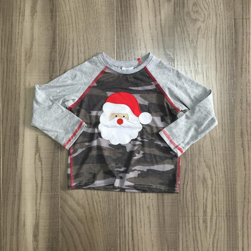 Girlymax Christmas Fall/Winter baby Boys Santa Claus Snowman Camo Plaid boutique t-shirts clothes cotton top raglans long sleeve 3