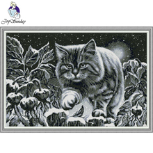 Joy Sunday,cat,Animal pattern cross stitch,Cartoon stitch pattern,Needlework counted cross-stitch pattern,cross set