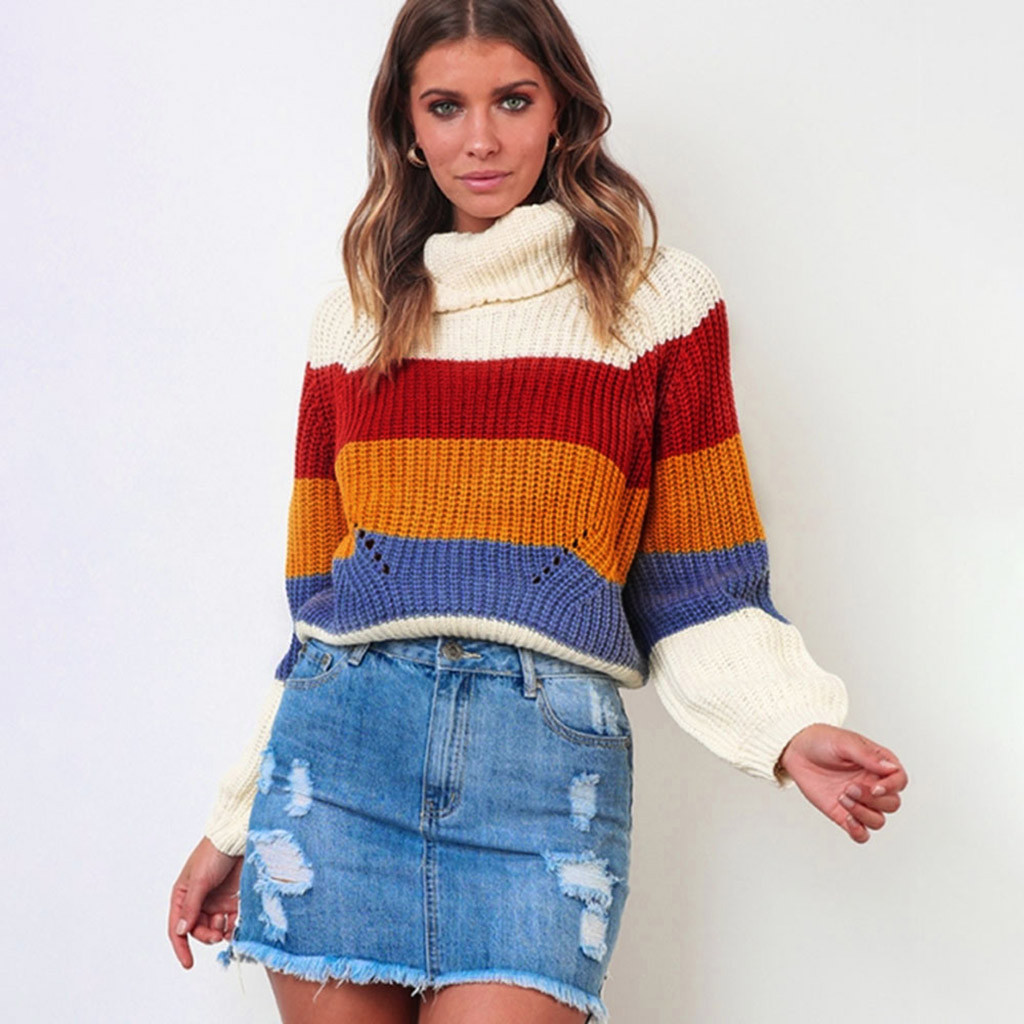 New Women Rainbow Jumper Knitted Pull Over Sweater Hat and ScarpTop Ladies UK