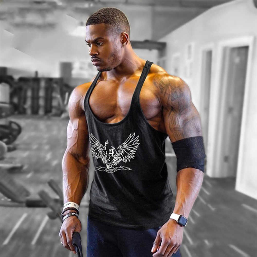 Mannen Fitness Gym Bodybuilding Print Tank Top Spier Fit Mouwloze Vesten Training Stringer Vest Man