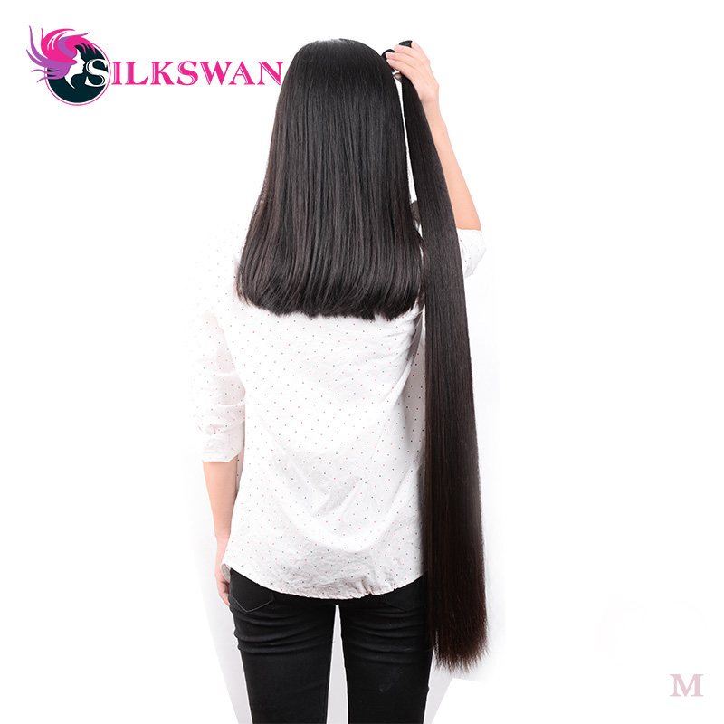 Silkswan Human Hair Weave Straight Bundles 34 36 38 40 50 Inch Brazilian Remy Hair Weft Natural Black Hair Extension For Women