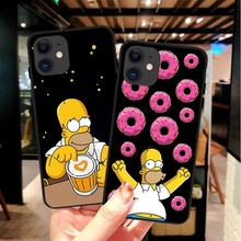 Moda luksusowe Simpson czarny miękki silikonowy pokrowiec TPU etui na telefony dla iPhone 11 Pro MAX SE 2020 5S 6SPlus 7 8 Plus X10 XR XS MAX