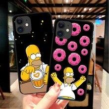 Moderna y lujosa funda de TPU y silicona suave en negro de Simpson para iPhone 11 Pro MAX SE 2020 5S 6s Plus 7 8 Plus X10 XR XS MAX