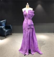 2020 Newest High Quality Customized Purple Strapless Sleeveless Heavy Beadings Mermaid Floor Length Party Evening Dress