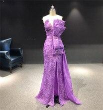 2020 najnowszy wysokiej jakości robione na zamówienie fioletowy bez ramiączek bez rękawów ciężkie kształtki syrenka piętro długość Party suknia wieczorowa