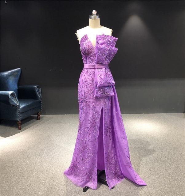 Robe de soirée sans bretelles, forme sirène, longueur au sol, personnalisé sans bretelles, violet, nouveauté 2020