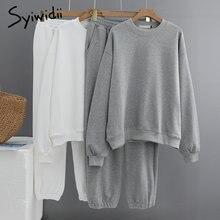 Syiwidii-Conjunto de 2 piezas de chándal para mujer, sudadera de algodón de 100%, pantalones de correr de gran tamaño, Tops, ropa 2021, Jersey gris de primavera con cuello redondo