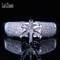 LaiZuan 5.5 6.5mm Round Cut 925 Sterling Silver 0.3ct Genuine Natural Diamonds Semi Mount Ring Setting Women Wedding Jewelry