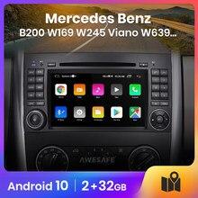 AWESAFE-Reproductor multimedia PX9 para coche Mercedes Benz B200 W169 W245 W639 ,pantalla de automóvil con radio, navegación y GPS, 2 din android 10.0, 2GB+32GB android auto para mercedes autoradio carplay