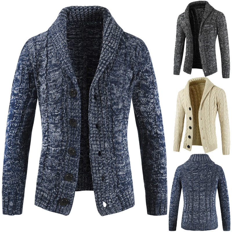 Men Cardigan Sweater 2020 Autumn And Winter New Mens Long-sleeved Sweater Lapel Cardigan Button Knit Sweater Coat Tide Warm