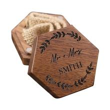 Exquisite Ring Box Fine Texture Wood Aesthetic Hexagon Jewelry Box for Wedding Exquisite Ring Box