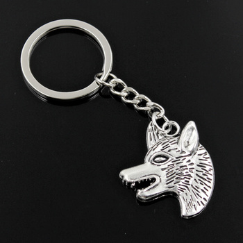 New Fashion Men 30mm Keychain DIY Metal Holder Chain Vintage Wolf Dog Wolfhound 35x30mm Silver Color Pendant Gift image