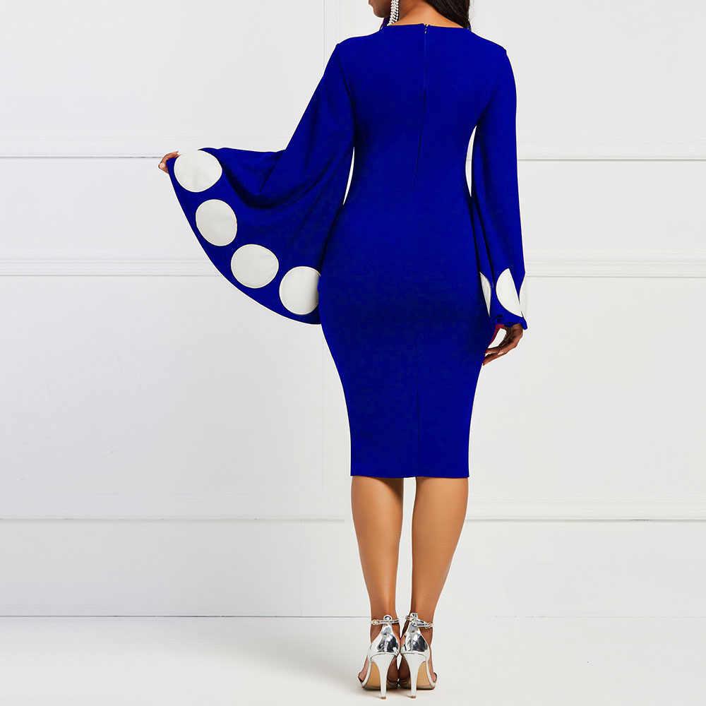 Slim OL עסקי משרד לבוש הרשמי ארוך אבוקה שרוול חורף שמלת המפלגה שמלה אלגנטית בציר Bodycon שמלת אופנה נשים מכירה