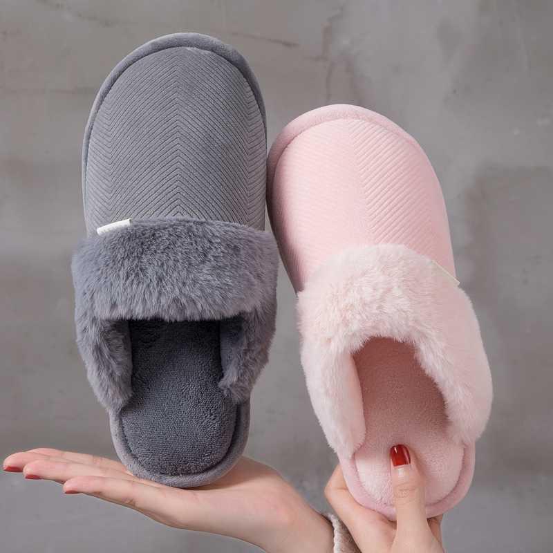 MoneRFFI Vrouwen Winter Warm Indoor Slippers 2019 Volwassenen vrouwen Solid Zachte Pluche Slippers Thuis Schoenen Katoen Thuis Slippers