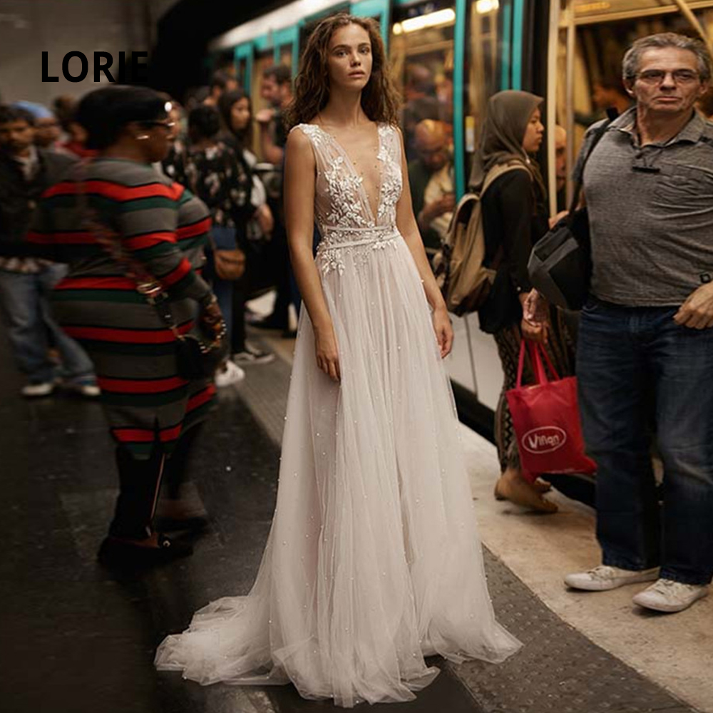 LORIE Sleeveless Vintage Deep V-neck Beach Wedding Dresses Lace Appliqued Soft Tulle Pearl Boho Bridal Gowns Open Back Plus Size