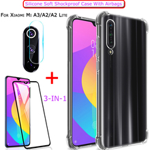 Airbag Case + Glass for Xiaomi-Mi-A3 Mi-A2-Lite Soft Anti-shock TPU Case Xiaomi Mi A 2 Screen Protector Case Xiaomi A 3 A3 Cover ven a mi