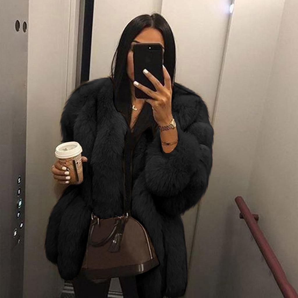 WOMAIL Women Casual Jacket Plus Size Short Faux Fur Coat Warm Furry Jacket Long Sleeve Outerwear Autumn Winter Loose Overcoat