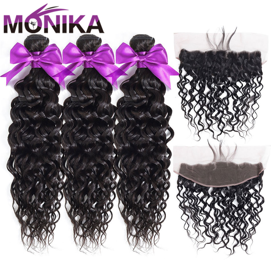 Monika Peruvian Hair Lace Frontal With Bundles 28 Inch Water Wave Bundles With Frontal Non-Remy Human Hair Frontal And Bundles