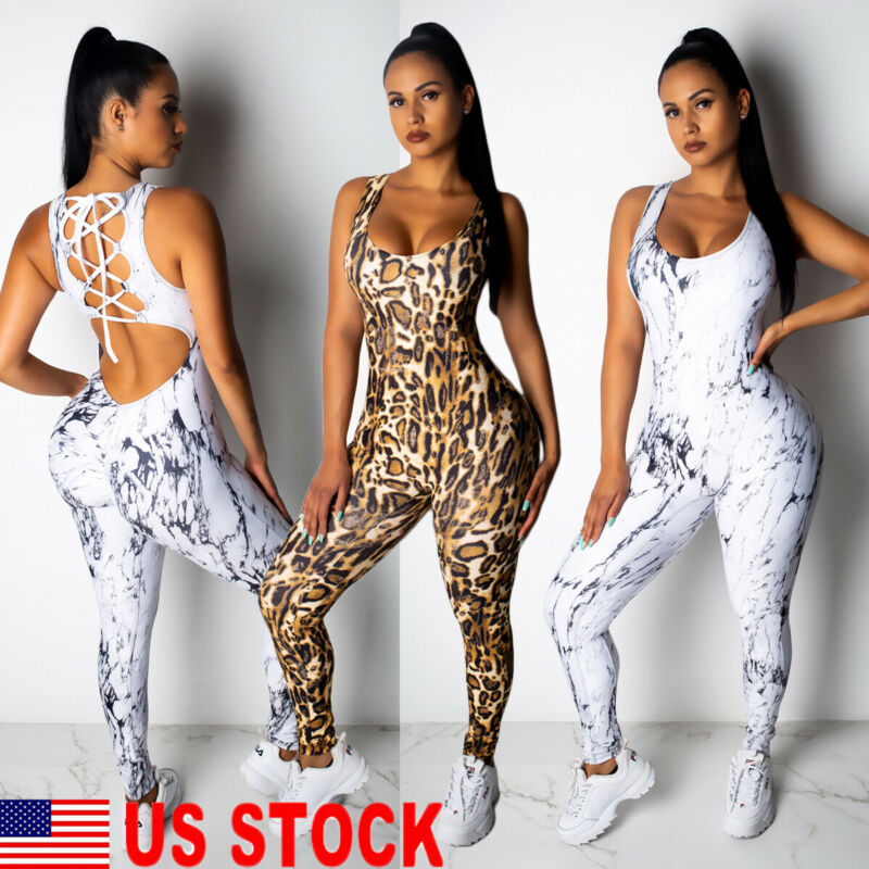 Hirigin Women Yoga Jumpsuit Female One Piece Sports Pants Leopard Sexy Backless Workout Fitness Running Gym Sport Clothes