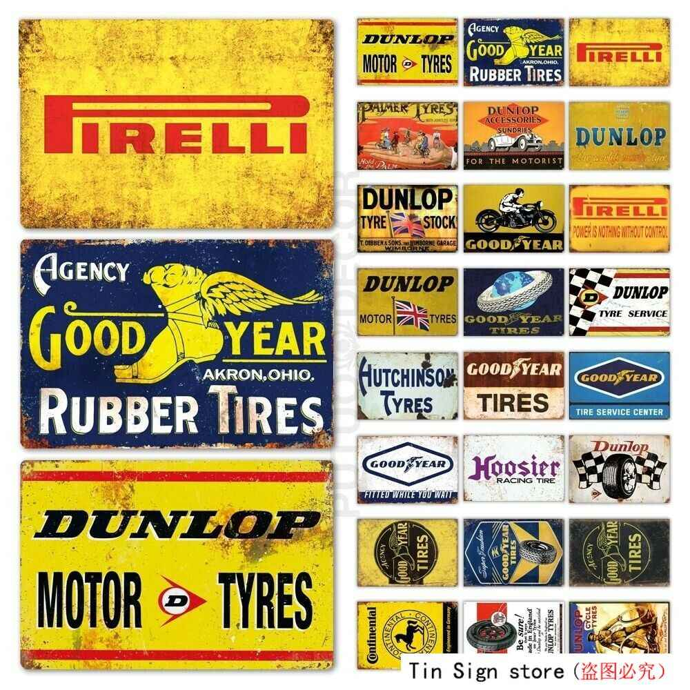 Metal sign retro vintage style Dunlop chequered flag mancave garage wall plaques