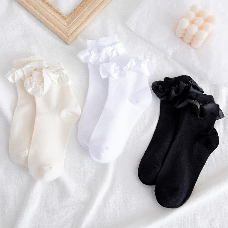 Cute socks lolita ruffle designer white kawaii harajuku calcetines woman chaussette femme funny women meias happy cool sock