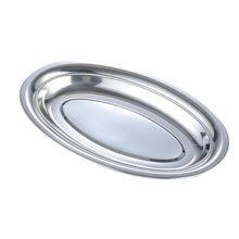 Plato de acero inoxidable no magnético, plato ovalado profundo, Vermicelli al vapor, plato superficial ordinario, 28cm, plato de pescado (Plata)