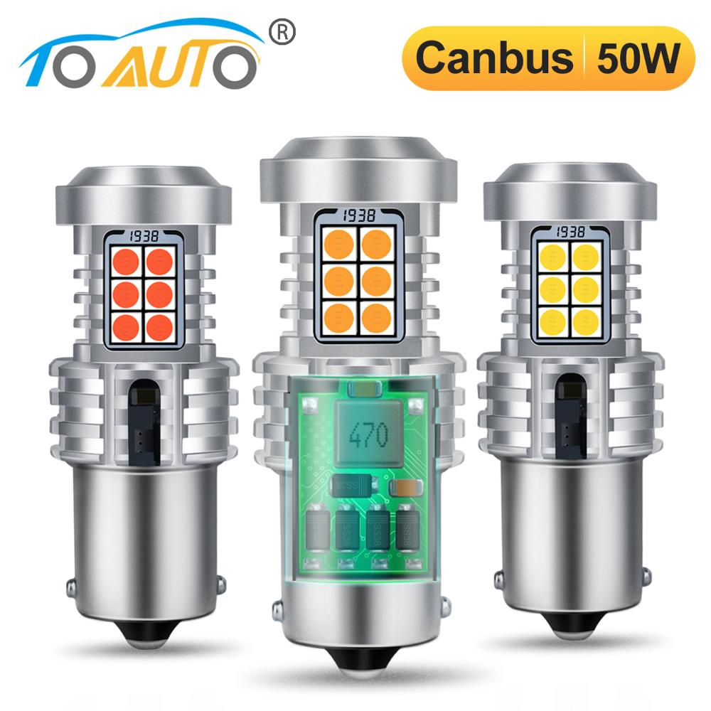 2pcs Canbus 50W BA15S <font><b>P21W</b></font> 1156 BAU15S PY21W <font><b>LED</b></font> No Hyper Flash <font><b>Bulbs</b></font> with 20SMD 3030 Chip Error Free Car Turn Signal Lamp 12V image