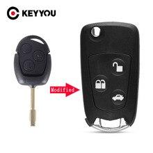 KEYYOU Новинка для Ford Focus Mondeo 3 кнопки дистанционный складной ключ откидной Чехол без рисунка Бесплатная доставка