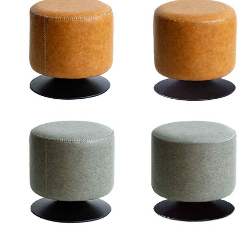 Rotating round stool home living room leather pier sofa stool makeup vanity stool shoe changing stool