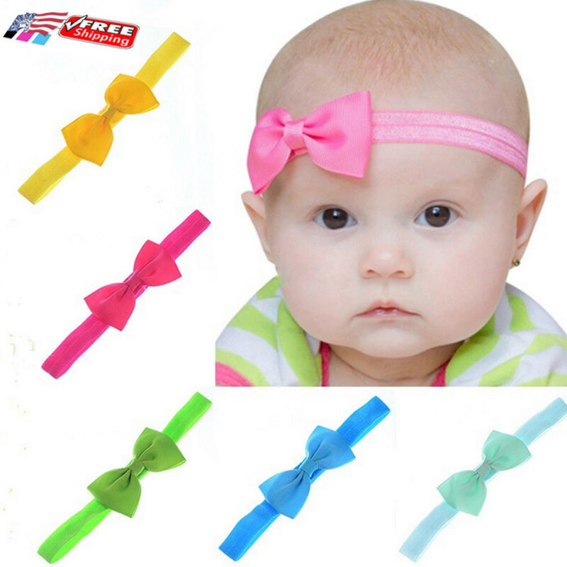 2019 Brand New Baby Kids Girl's Fashion Mini Ribbon Elastic Hair Bow Headbands Band Accessories Solid Candy Color Hair Band Gift