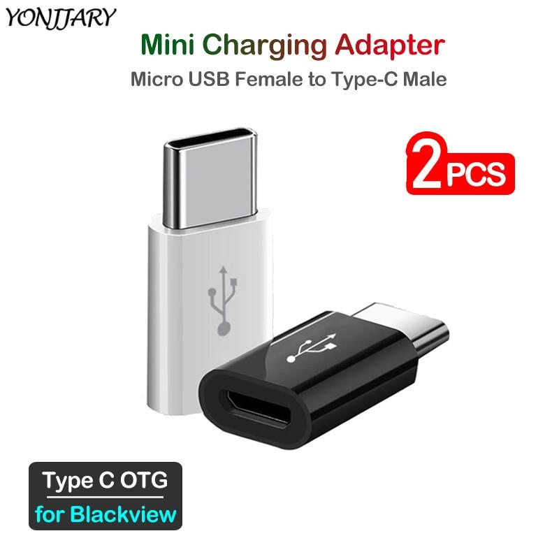 2Pcs Micro USB To Type C Charging Adapter For Blackview BV9500 BV9600 BV9700 BV9800 BV9900 BV6800 Pro USBC Phone OTG Connector