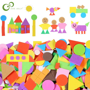 150/300/600pcs Foam Stickers Geometry Puzzle Self-Adhesive EVA Stickers Children Education DIY Toys Crafts Arts Making Gift ZXH 1